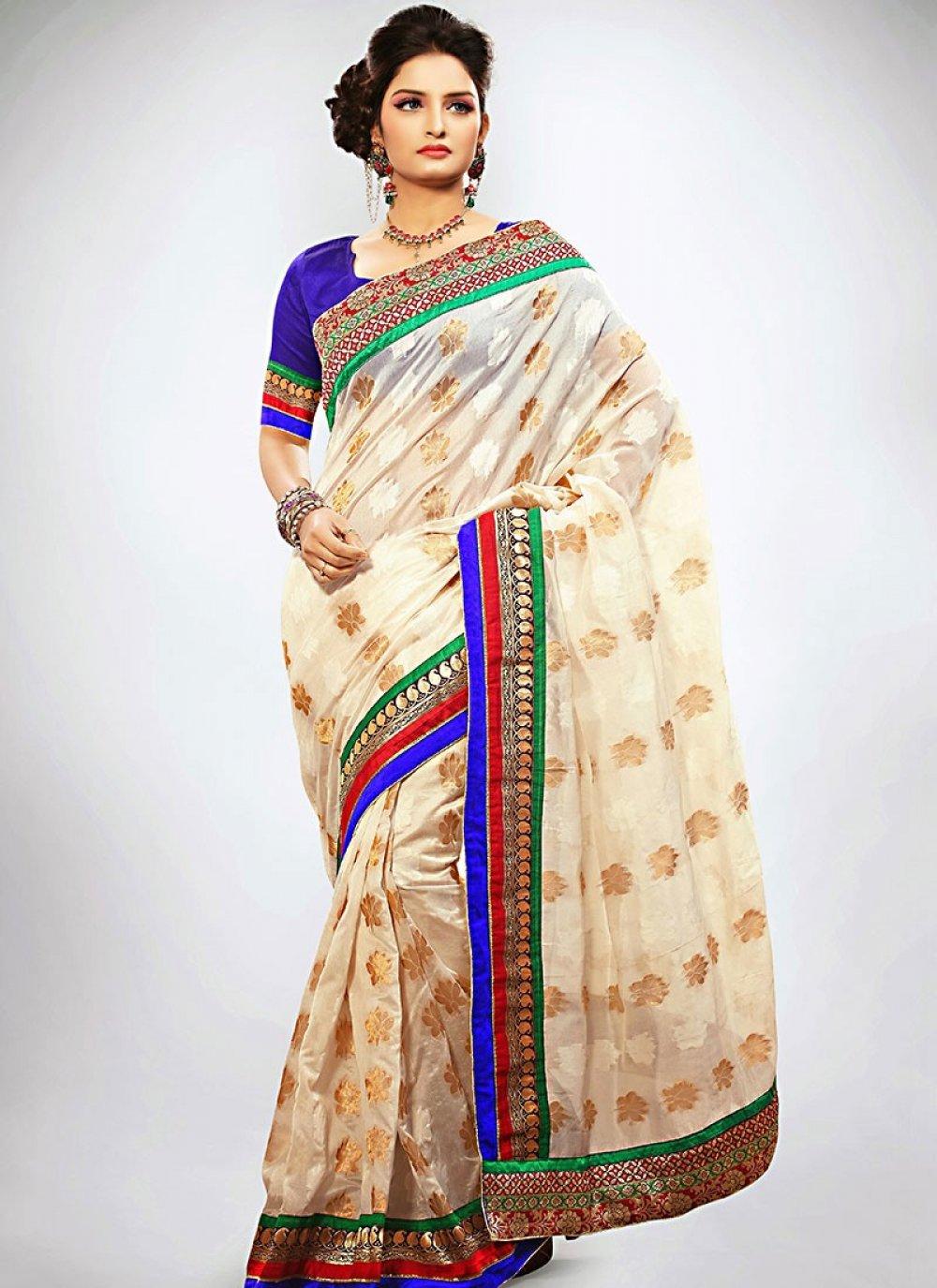 Off White Banarasi Art Silk Designer Saree
