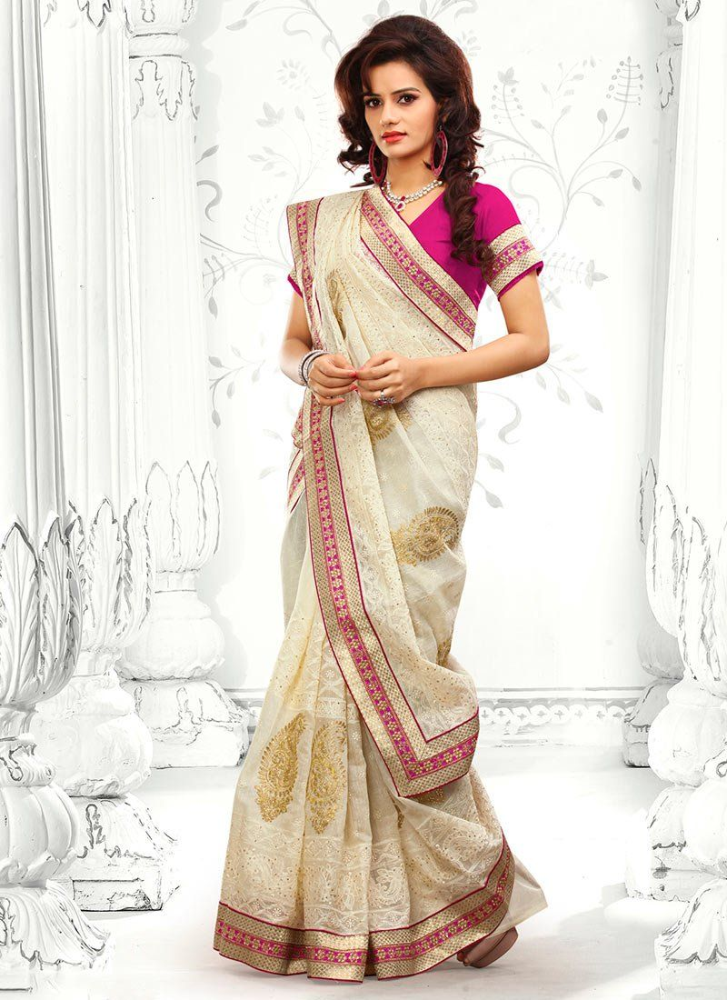 Off White Cotton Designer Saree