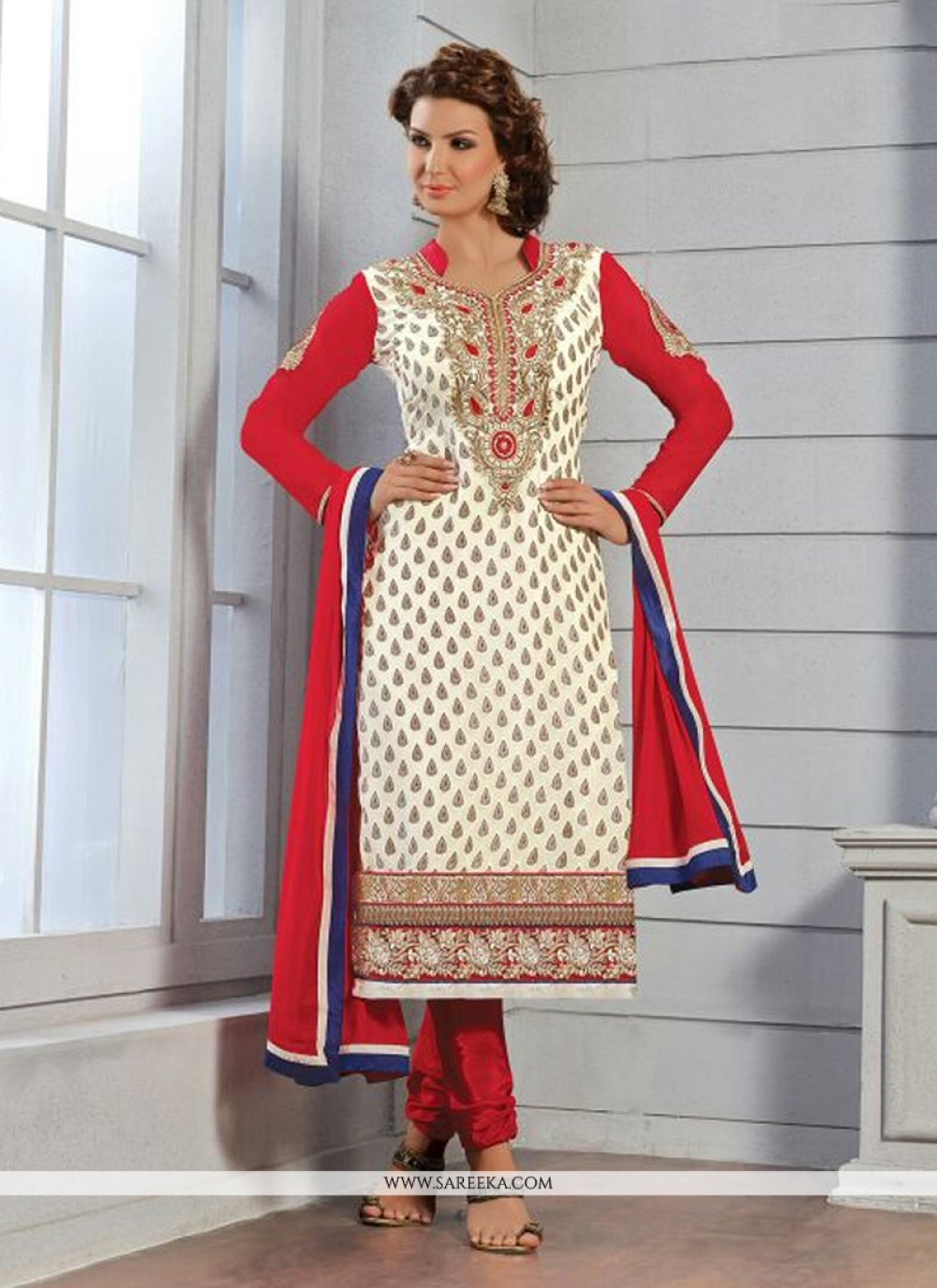 Off White Embroidery Work Churidar Suit