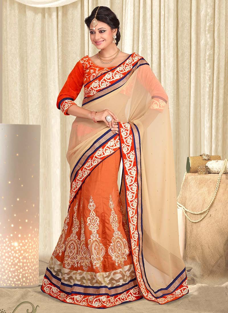 Orange And Cream Silk Lehenga Saree