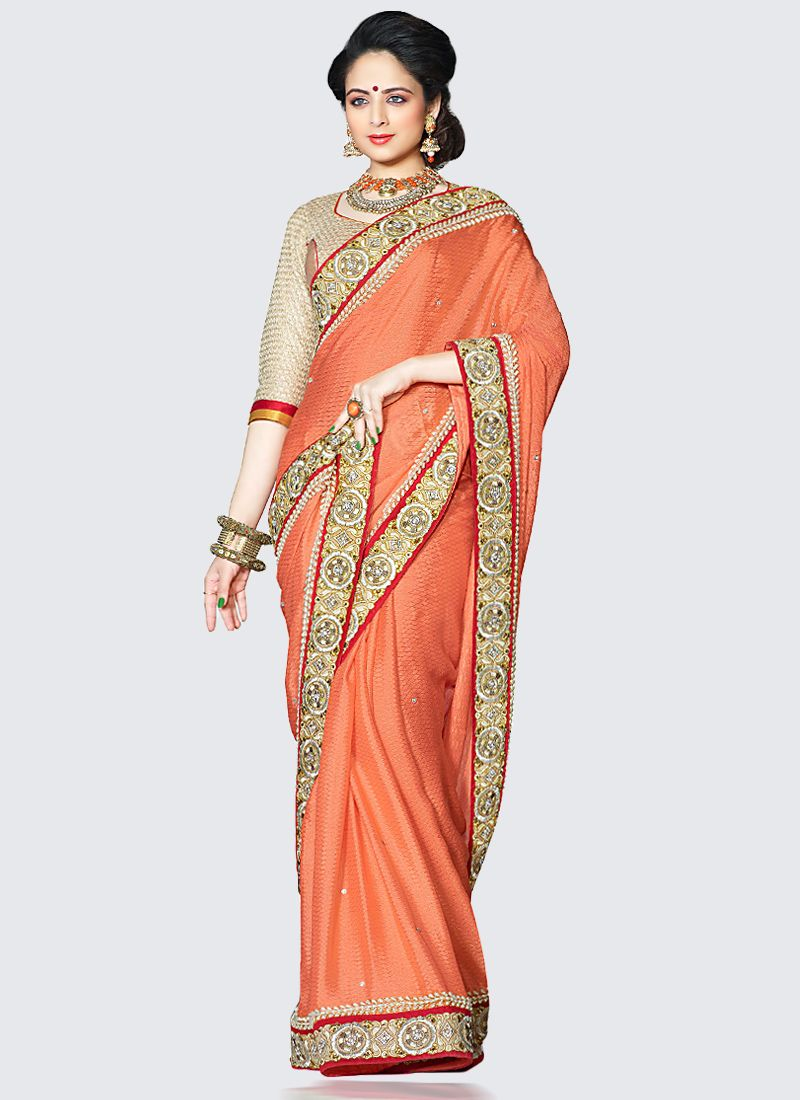 Orange Bemberg Georgette Embroidered Saree