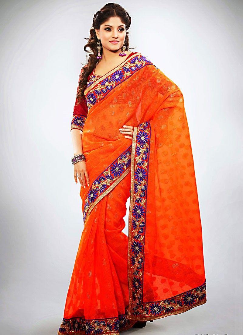 Orange Jacquard Wedding Saree