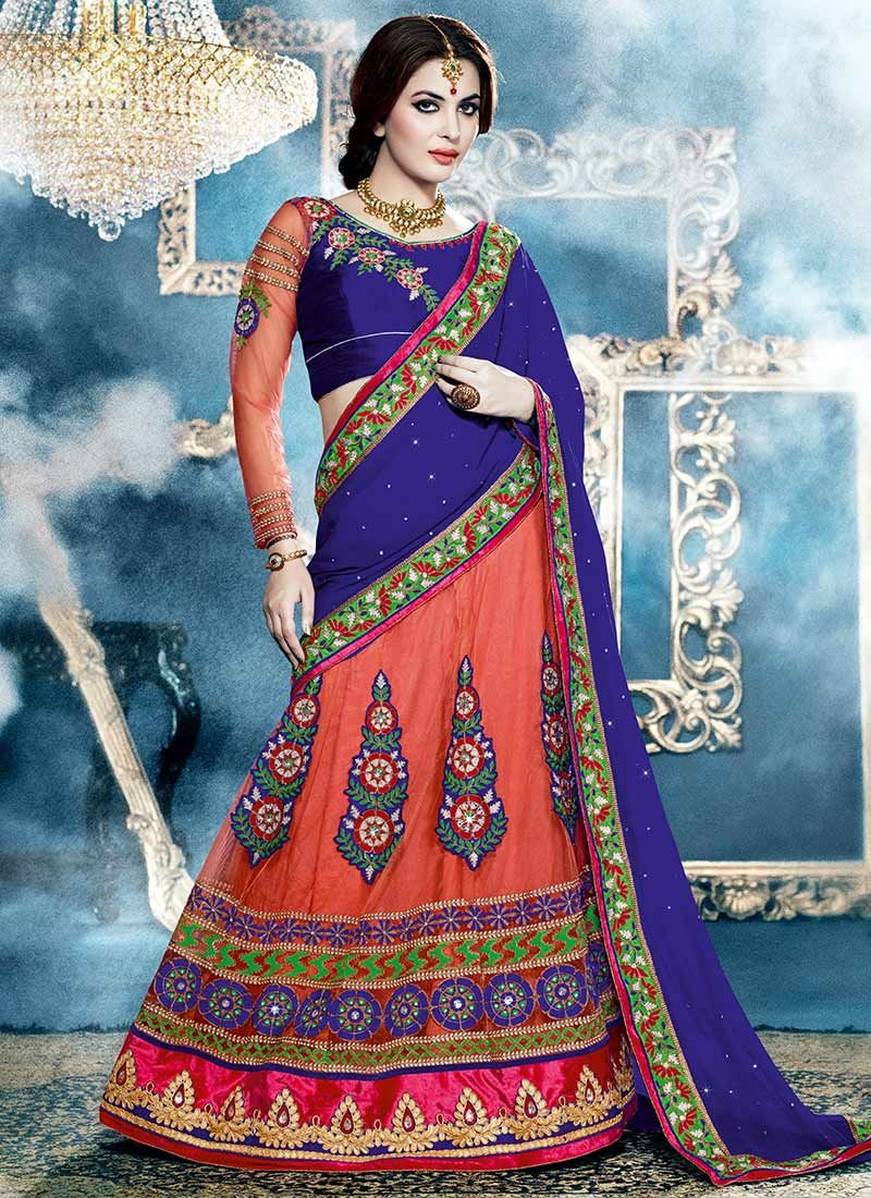 Peach And Blue Net Georgette Lehenga Style Saree