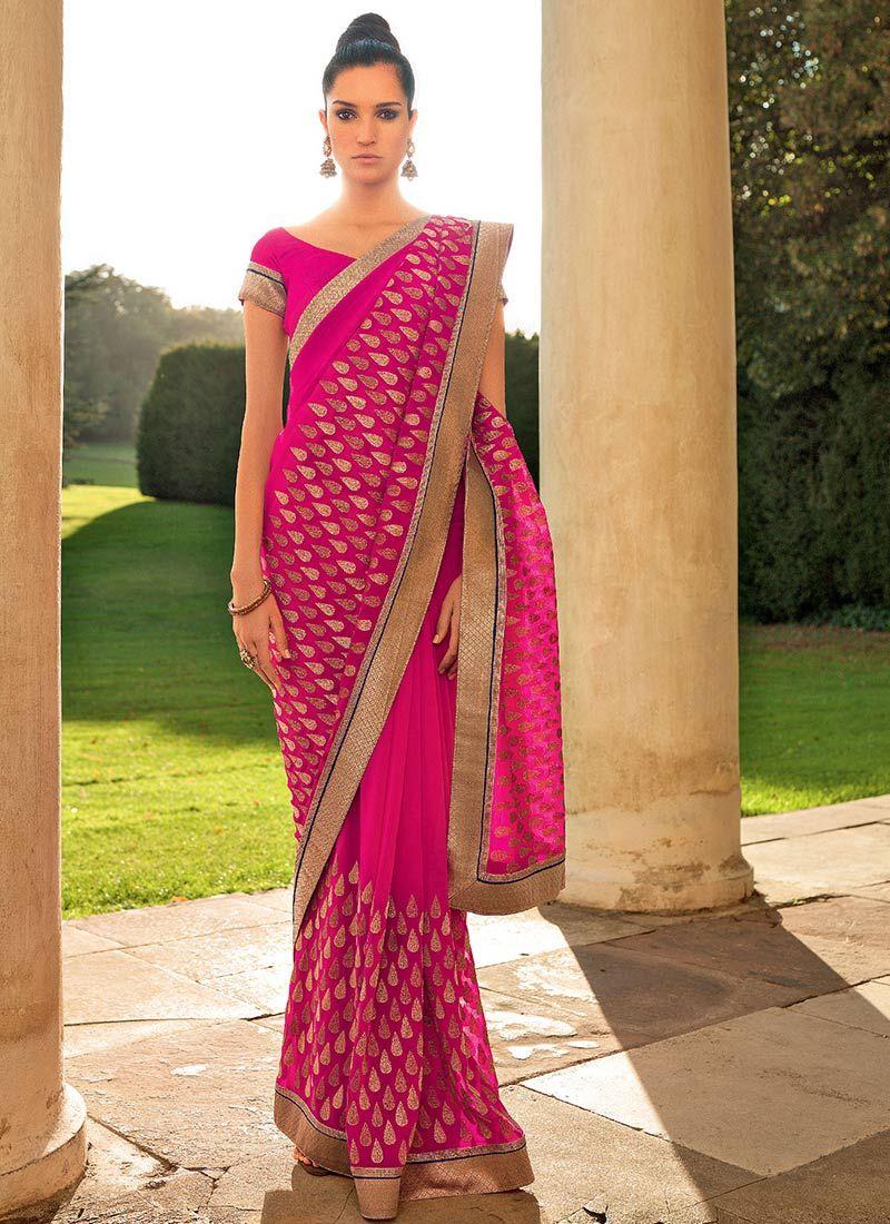 Pink Faux Chiffon Saree