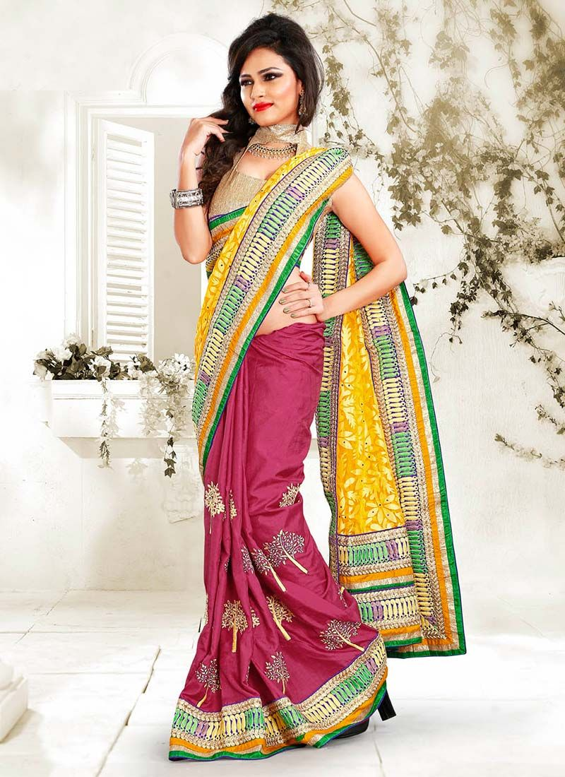 Pink Manipuri Silk Half And Half Saree