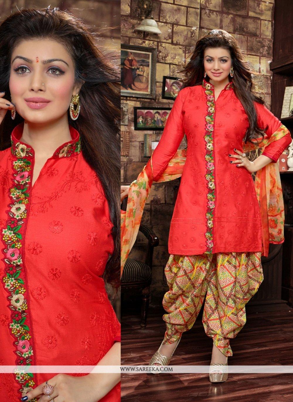Red Cotton   Designer Patiala Suit