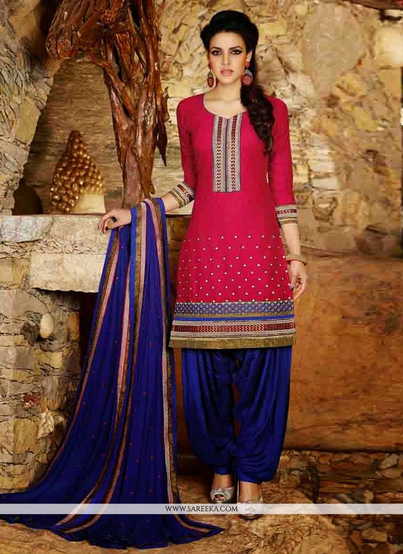 Red Cotton Punjabi Suit