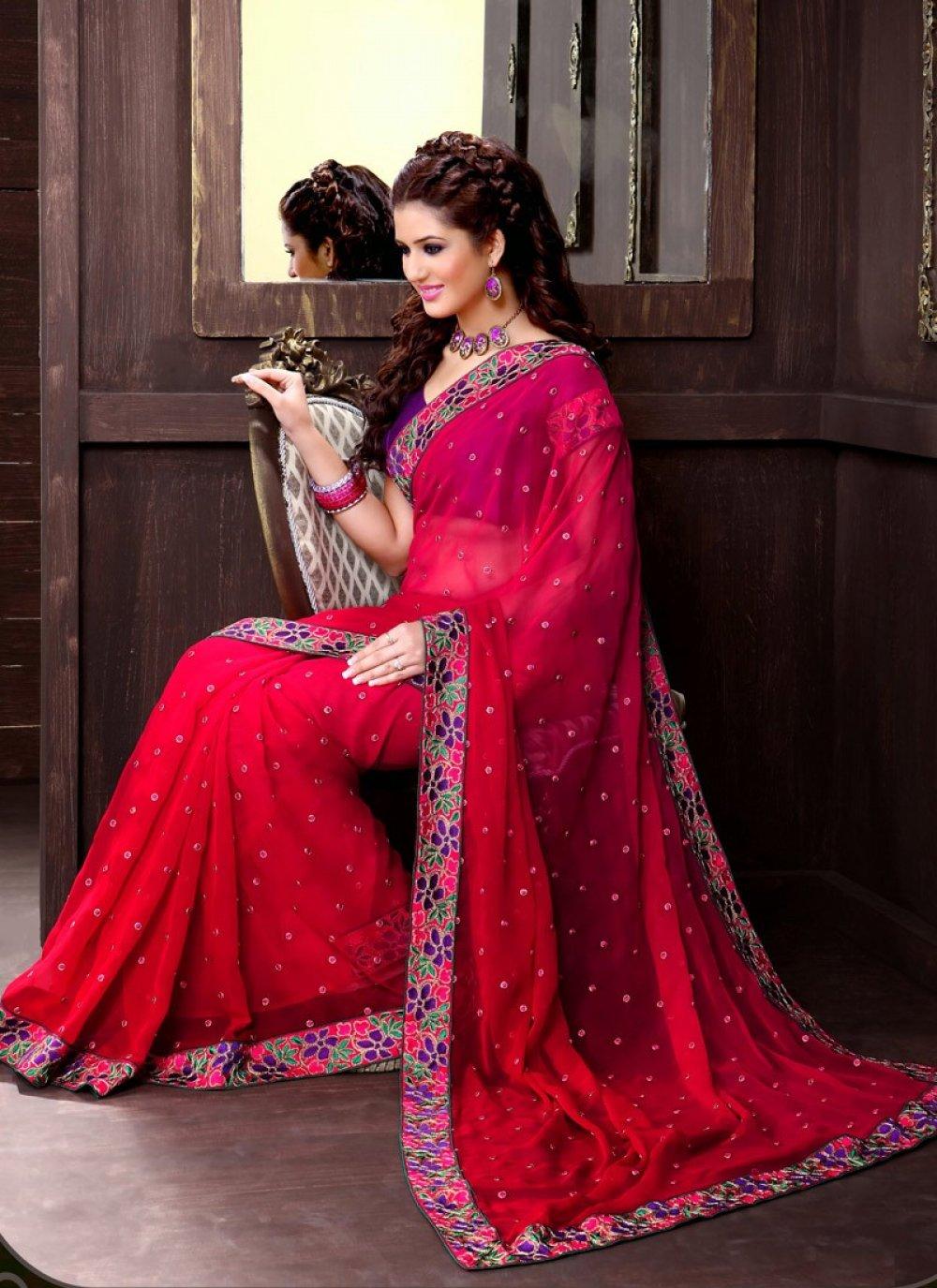Red Net Half And Half Saree