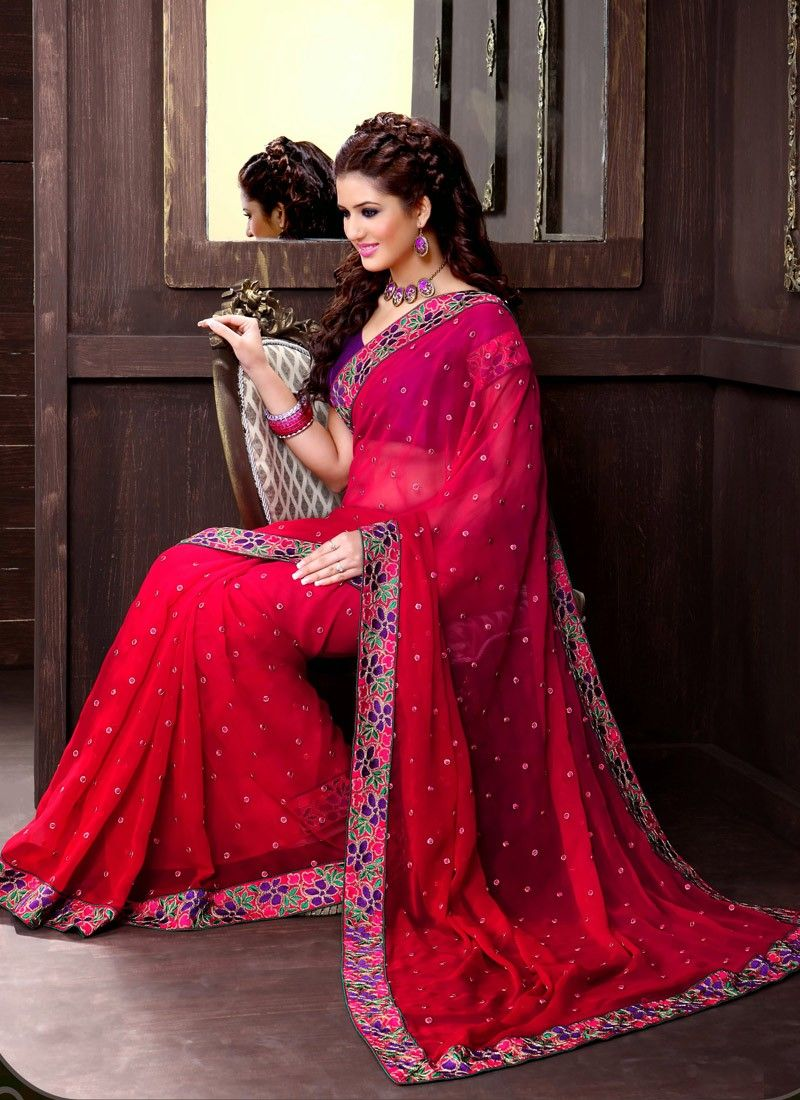 Red Net Half And Half Saree