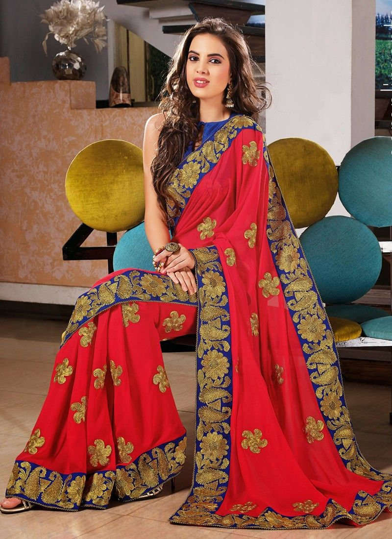 Red Viscose Wedding Saree