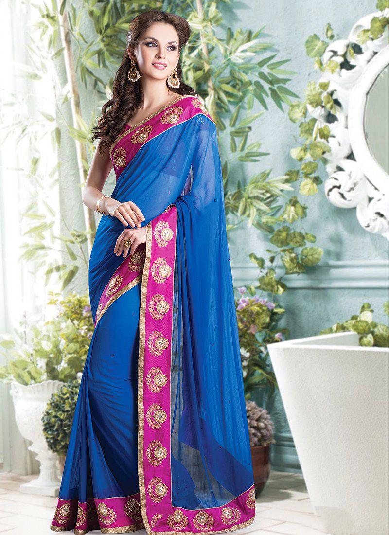 Shaded Blue Border Faux Chiffon Designer Saree