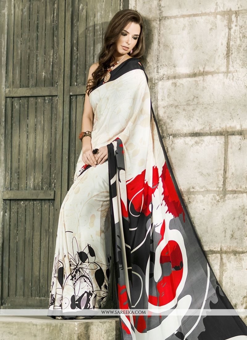 White Casual Saree