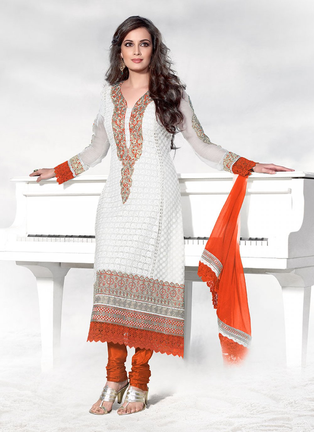 White Embroidered Churidar Suit