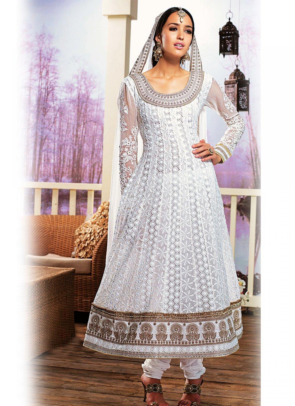 White Resham And Zari Work Net Anarkali Suit