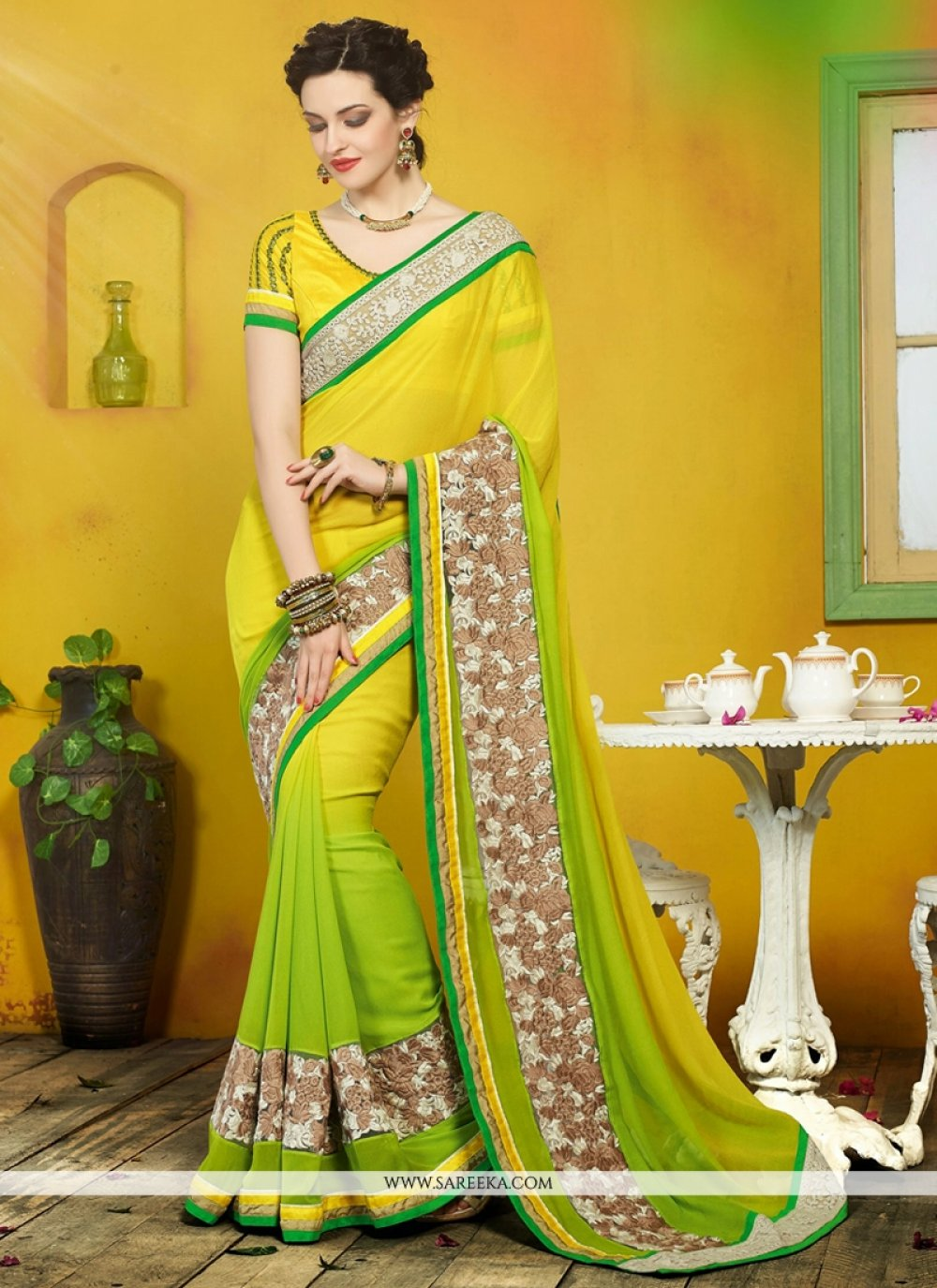 Yellow And Green Georgette Designer Saree