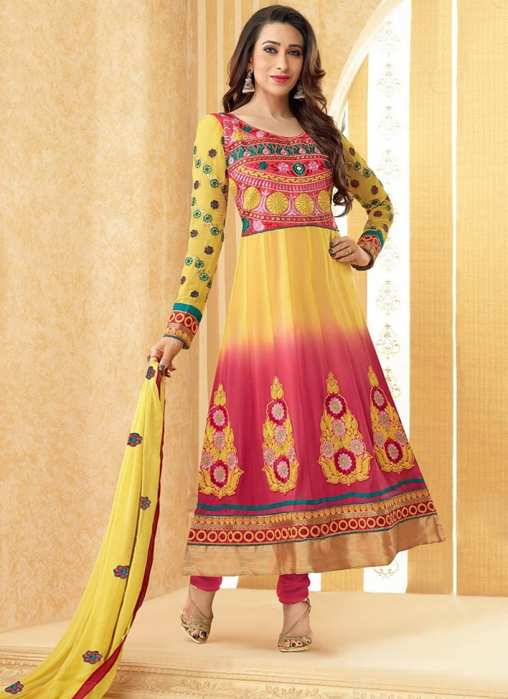 Yellow And Pink Faux Georgette Anarkali Suit