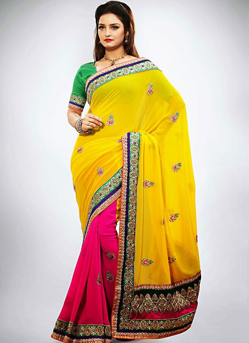 Yellow Georgette Half And Half Saree