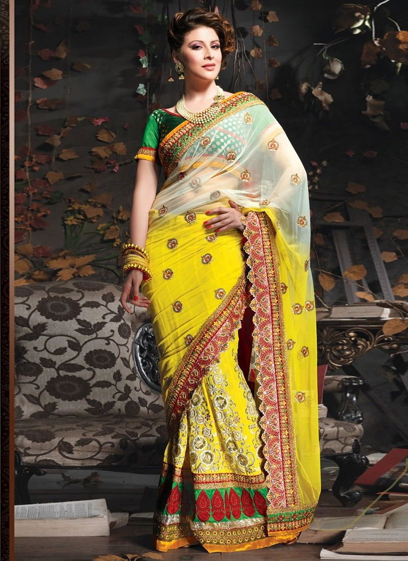 Yellow Viscose And Net Designer Saree