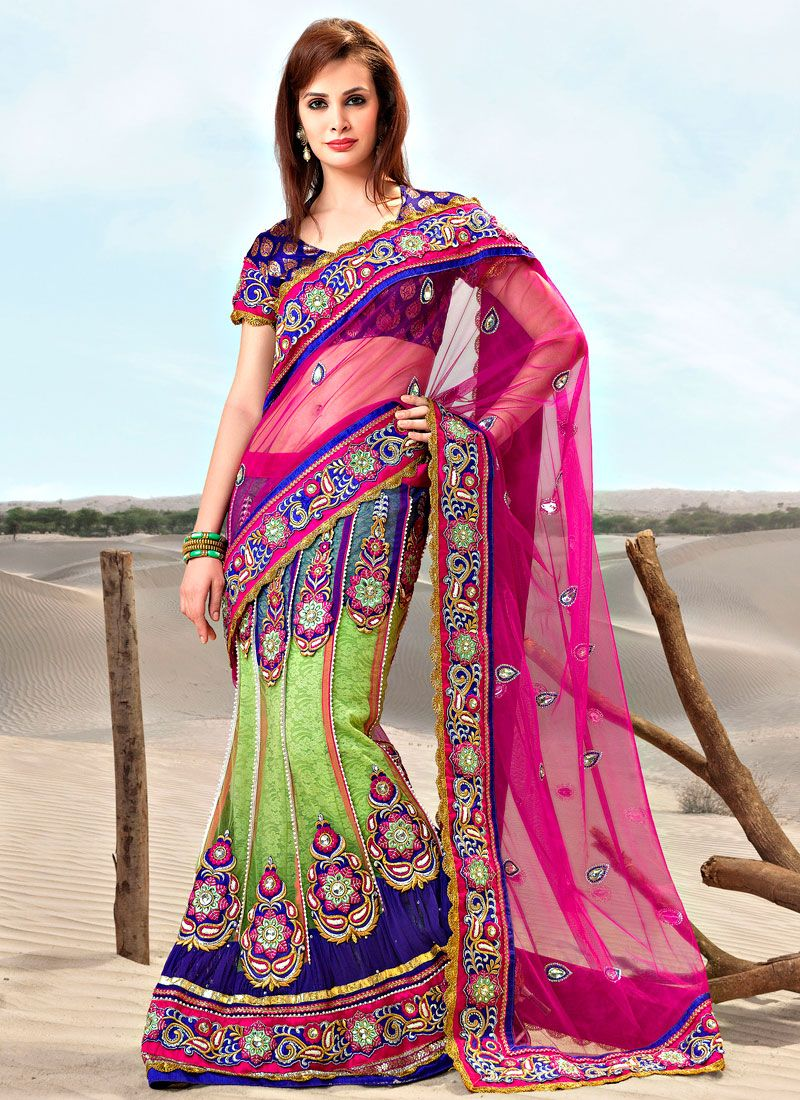 Embellished Magenta And Green Net Lehenga Saree
