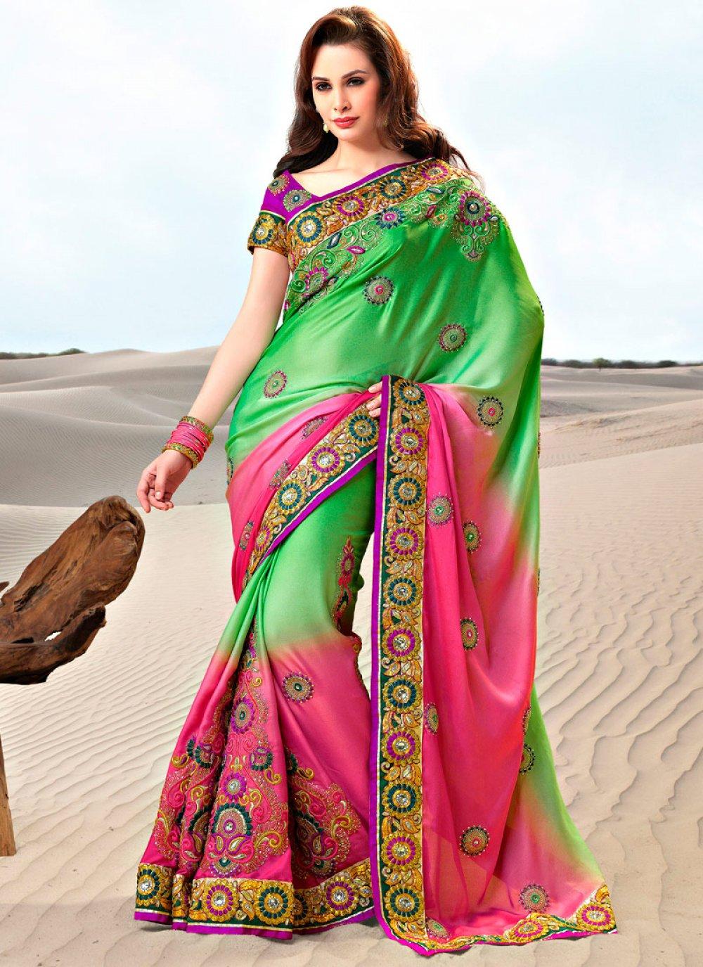 Embroidered Dual Shaded Satin Saree