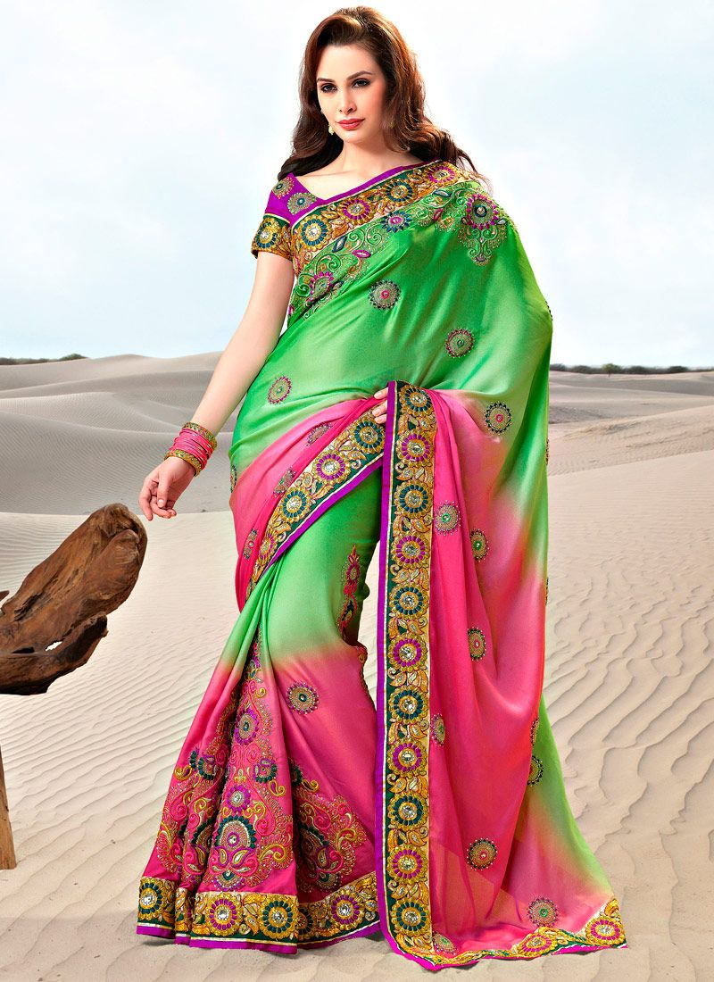 Embroidered Dual Shaded Satin Saree