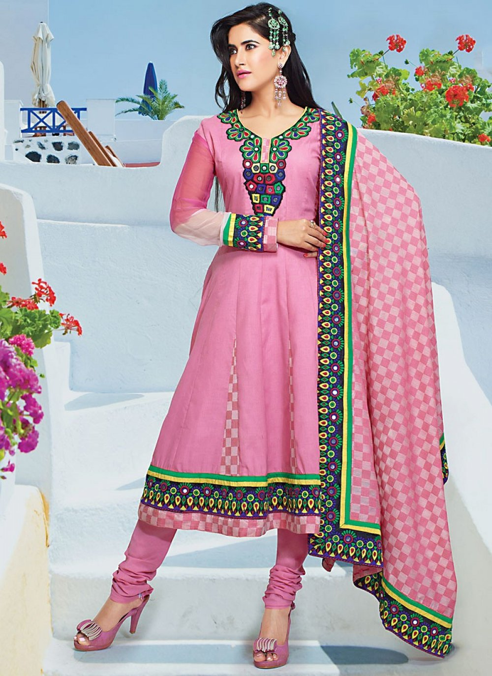 Embroidered Pink Cotton Churidar Suit