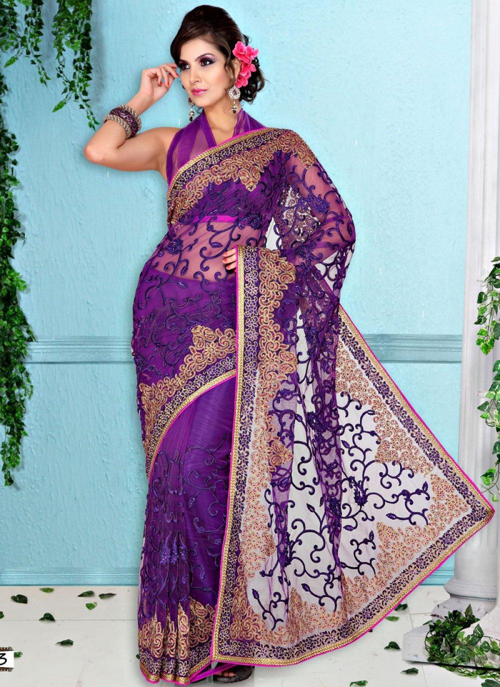 Embroidered Purple Net Saree