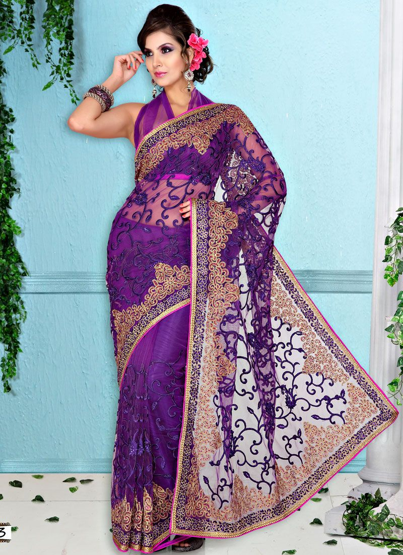 Embroidered Purple Net Saree