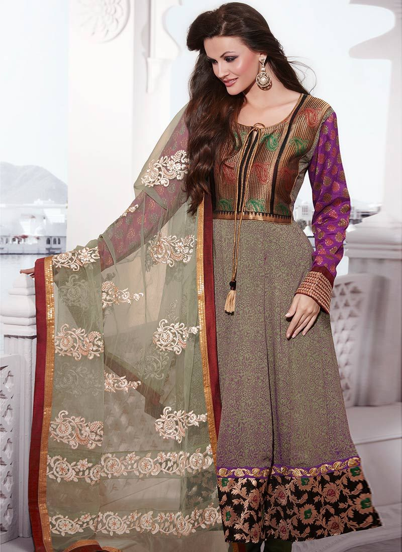 Enamoring Green Georgette Churidar Suit