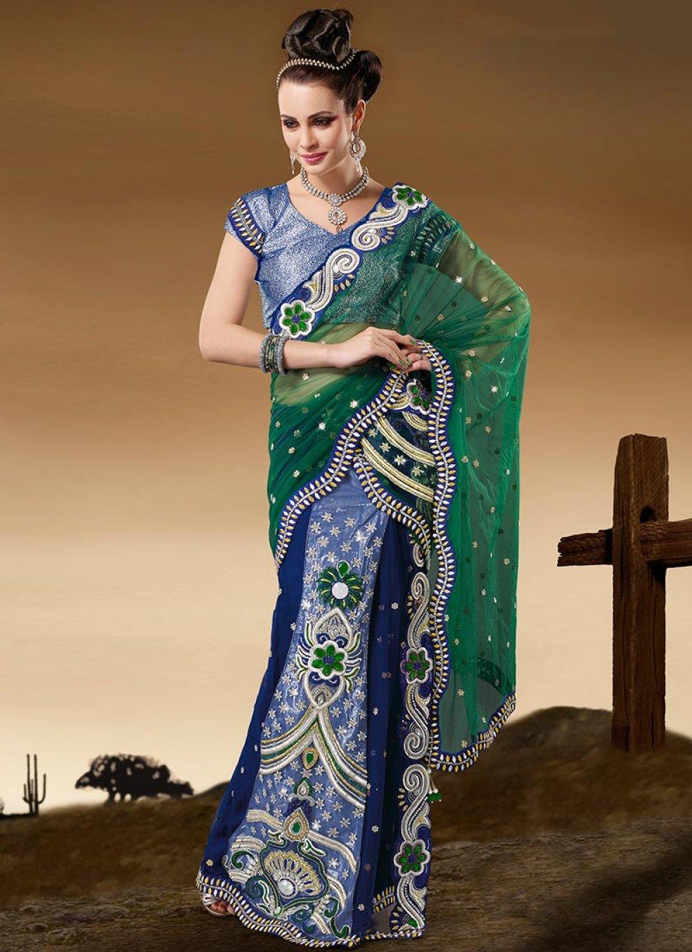 Enamoring Green Net Ready Pleated Saree