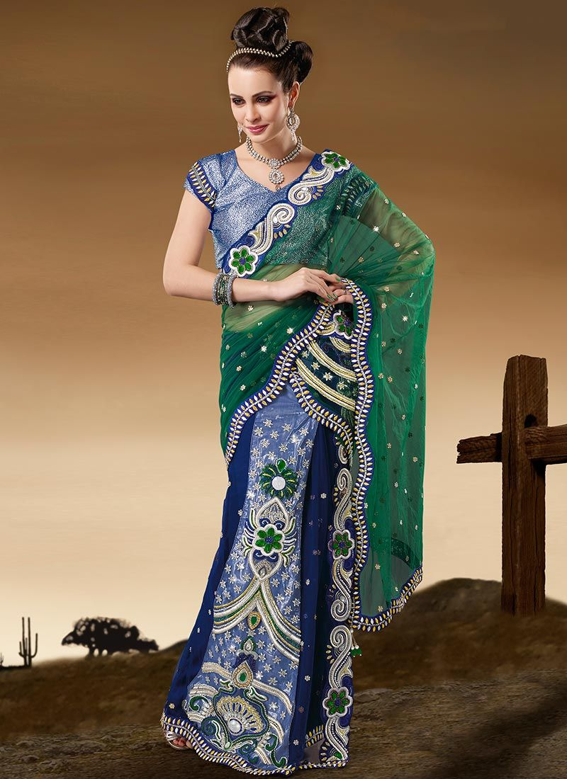 Enamoring Green Net Ready Pleated Saree