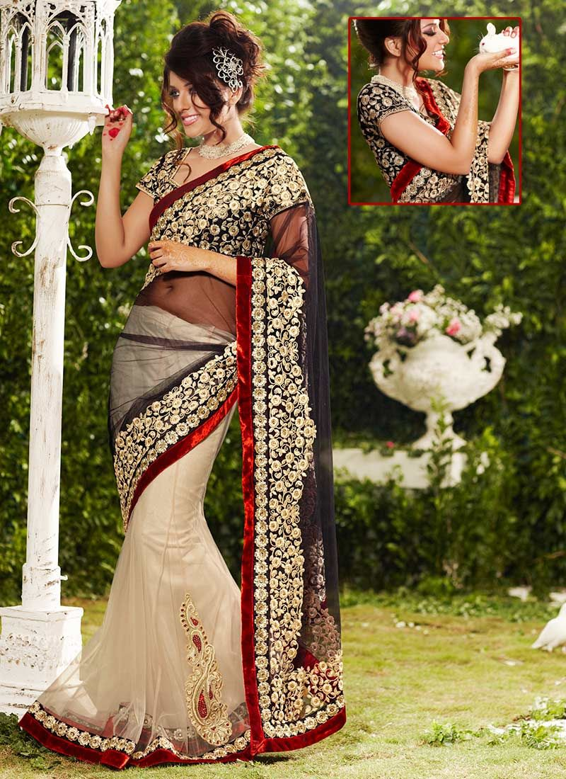 Black And Beige Lehenga Saree