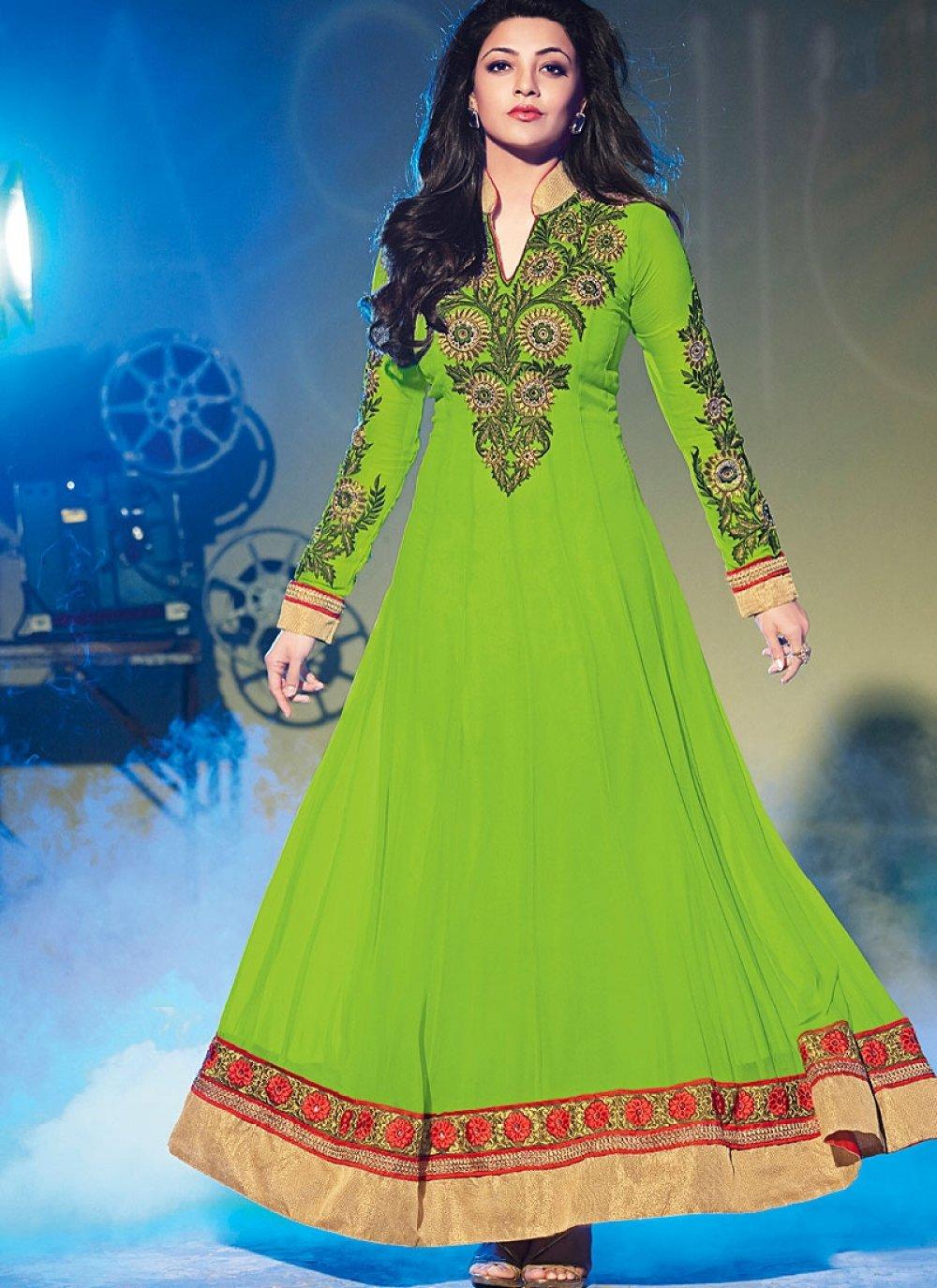 Green Resham Work Georgette Anarkali Suit