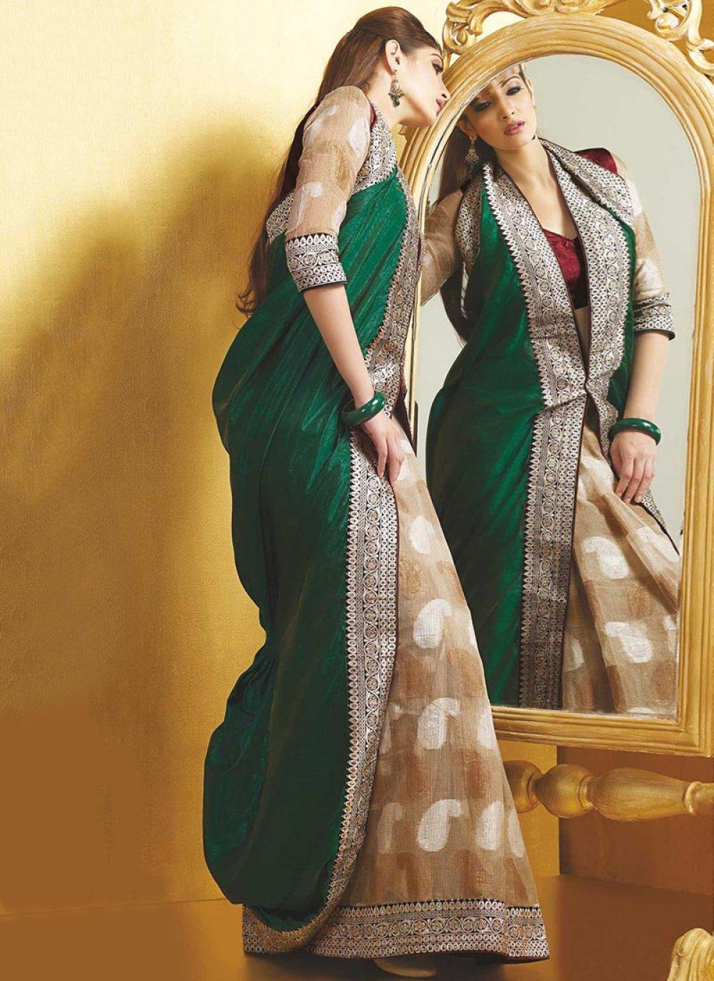 Green Silk And Jacquard Half And Half Saree