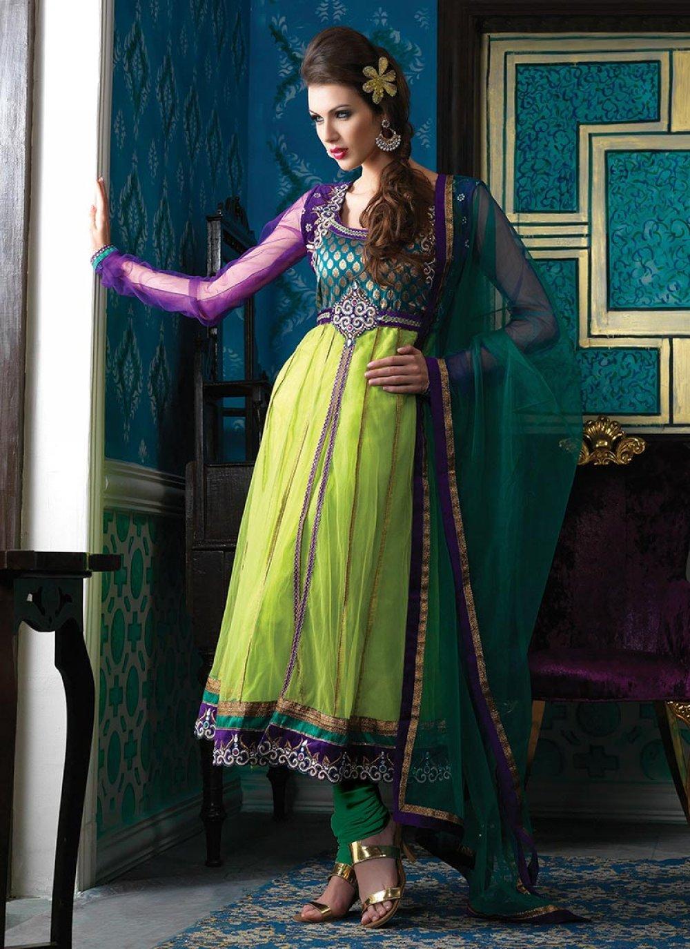 Parrot Green Net Churidar Suit