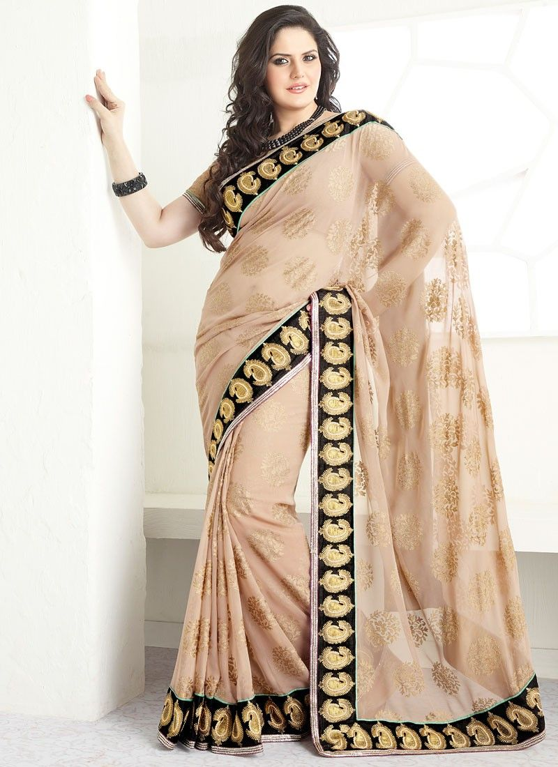 Peach Brasso Georgette Saree