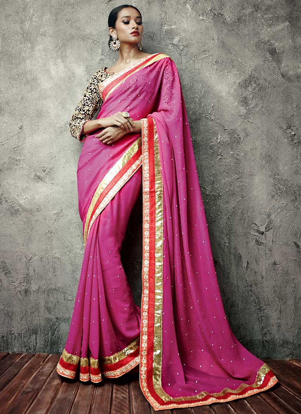 Pink Shimmer Georgette IIFA Enhanced Border Saree
