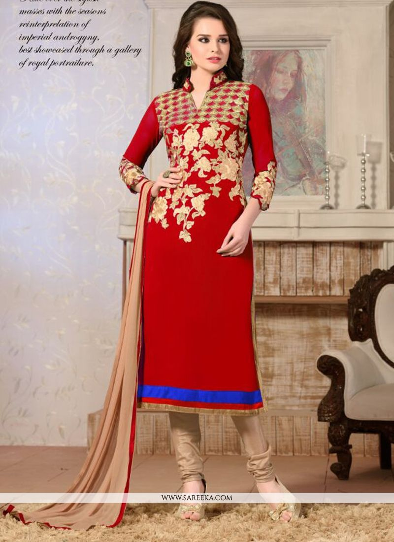 Red Lace Work Georgette Churidar Salwar Kameez