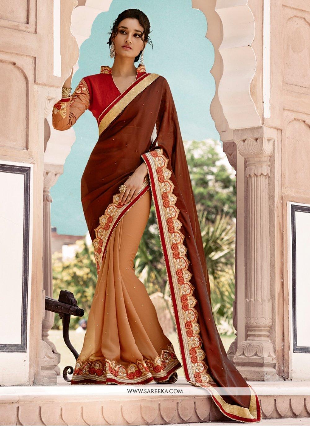Resham Work Georgette Half N Half Designer Saree
