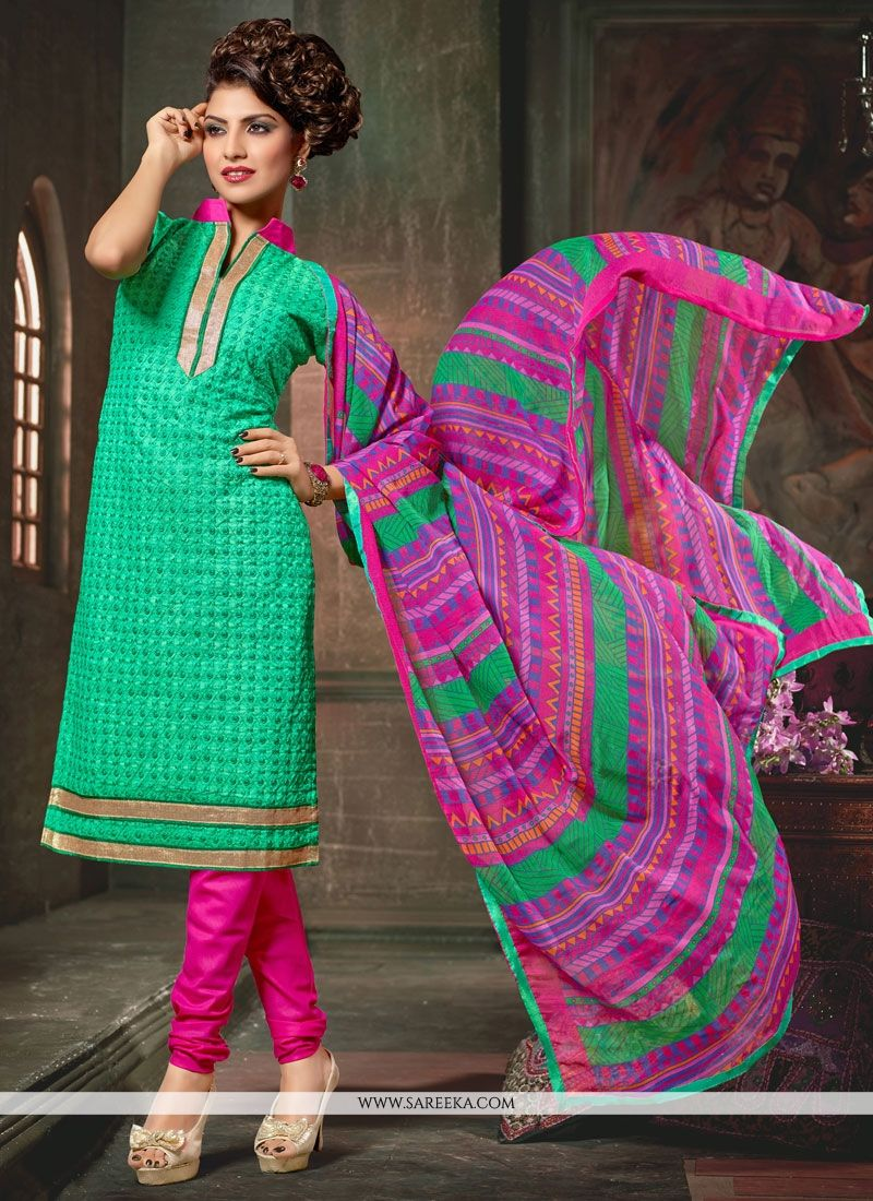 Sea Green Churidar Designer Suit