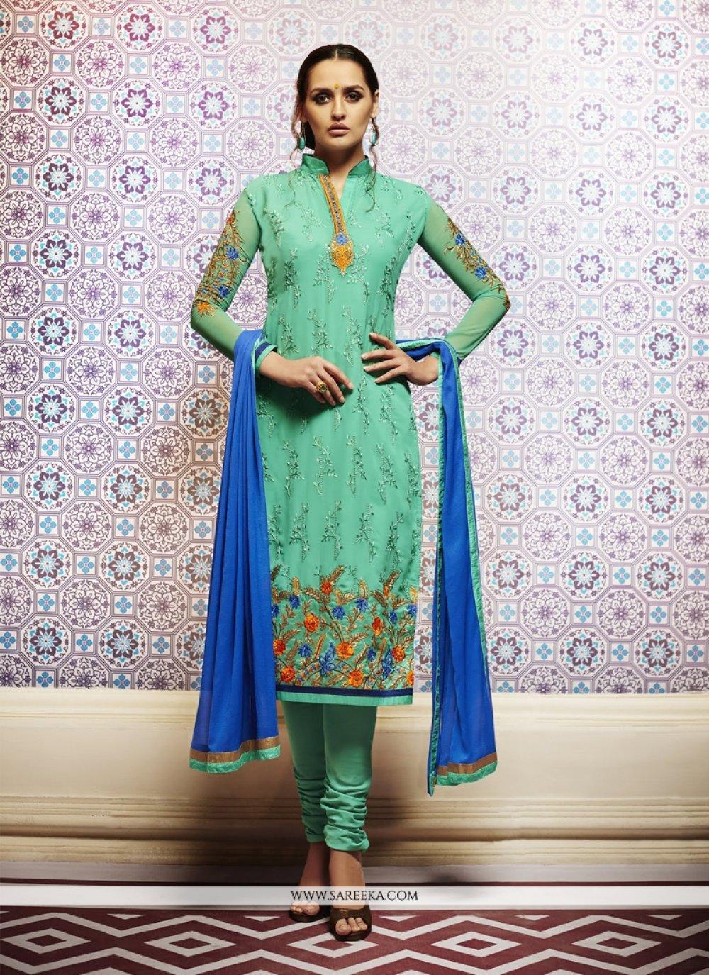 Sea Green Resham Work Churidar Designer Suit