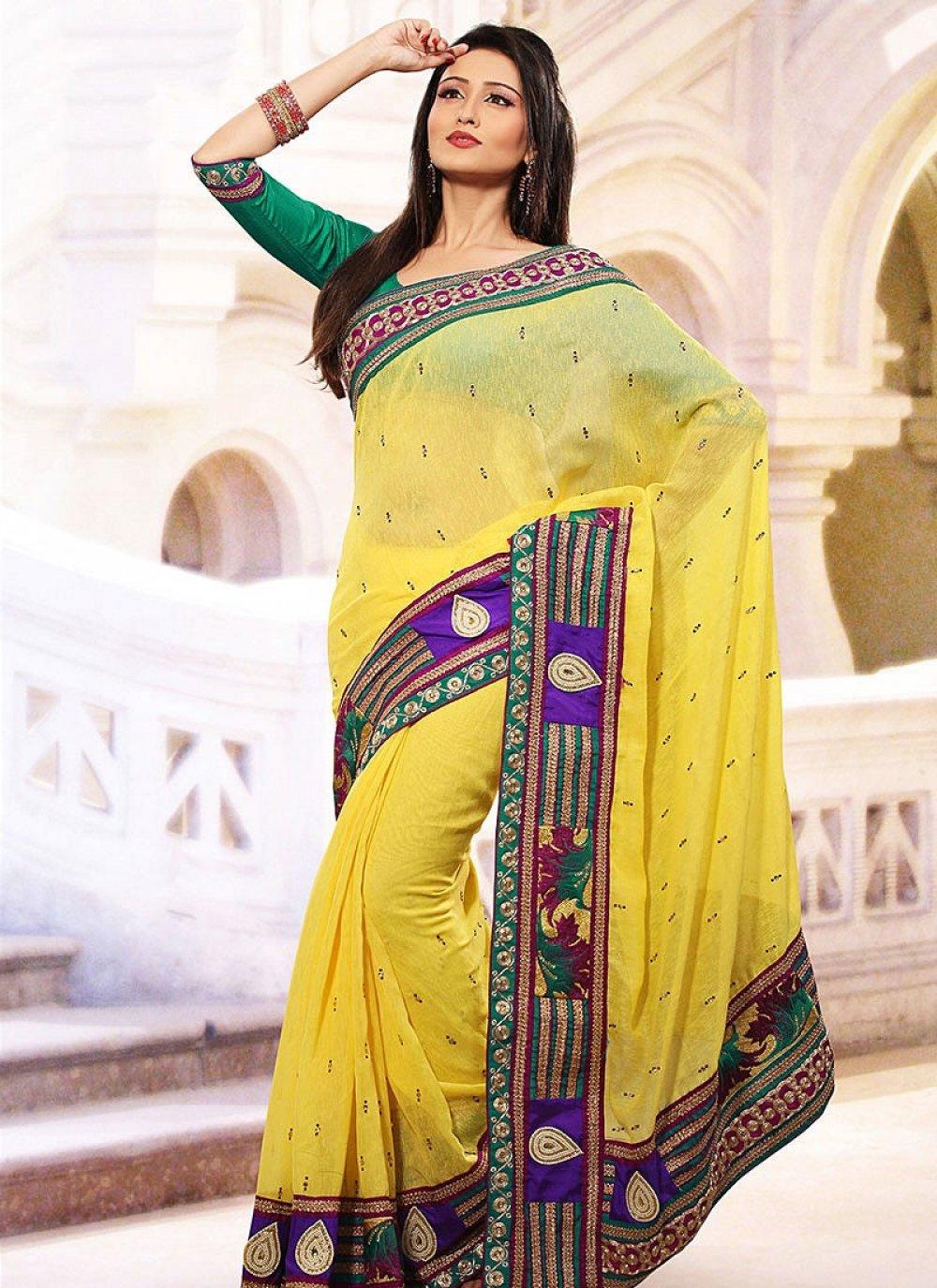 Yellow Linen Jute Silk Saree