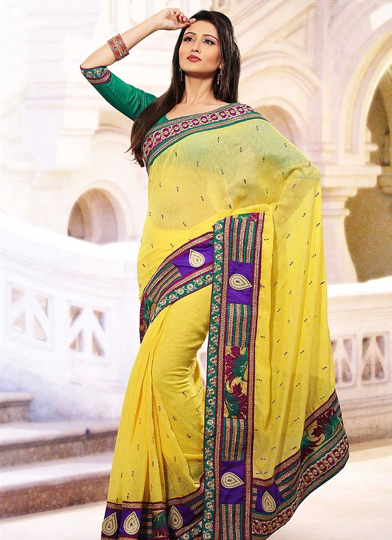 Yellow Linen Jute Silk Saree