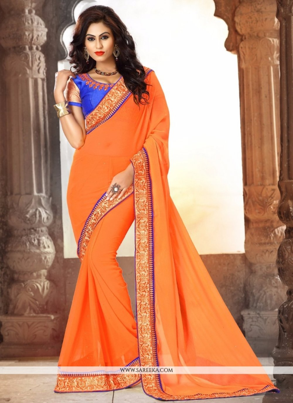 Faux Chiffon Orange Designer Saree