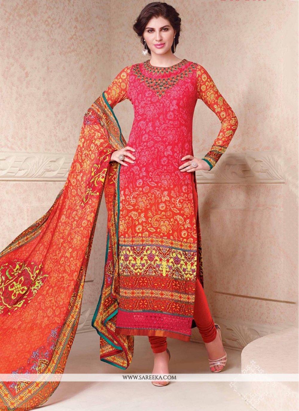 Hot Pink and Orange Churidar Designer Suit