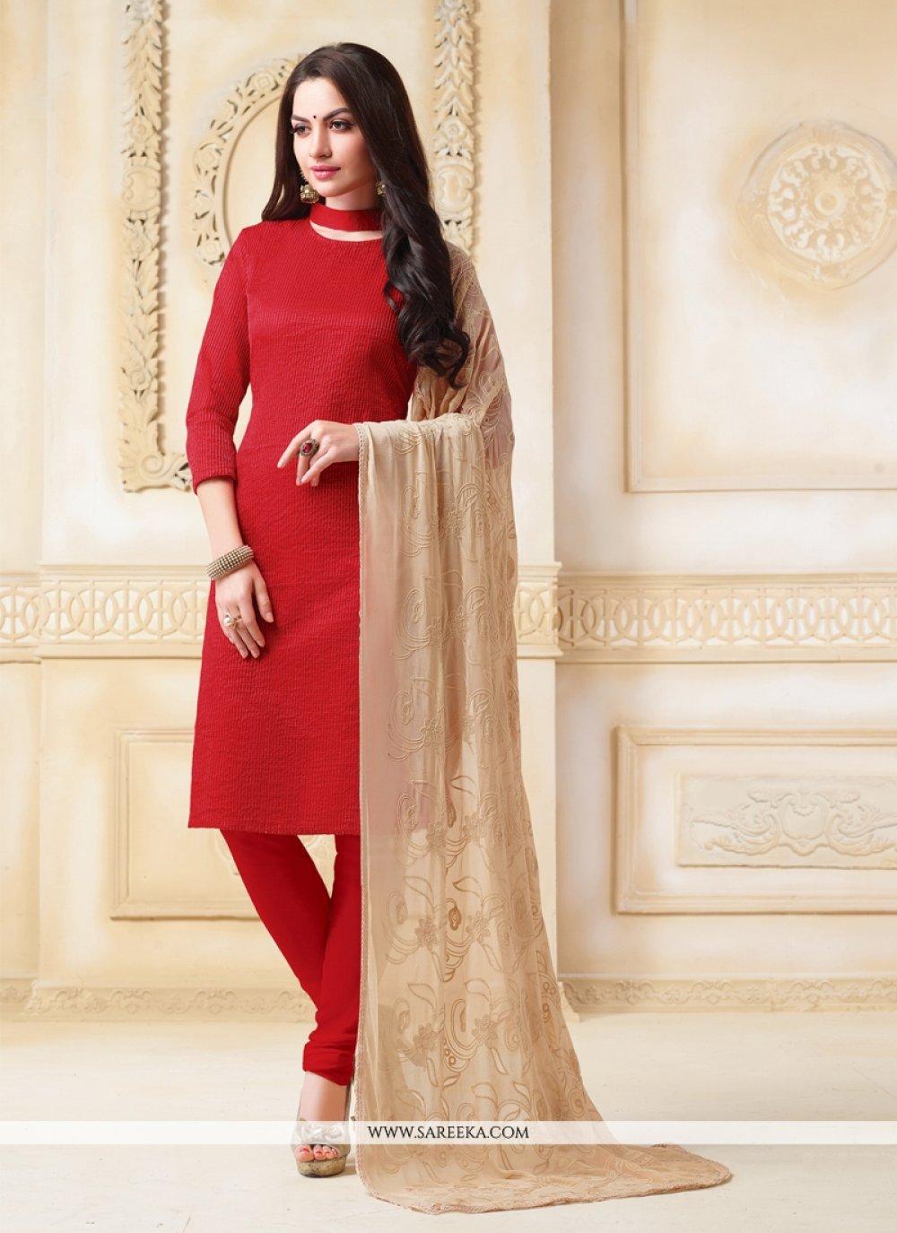 Red Churidar Salwar Suit