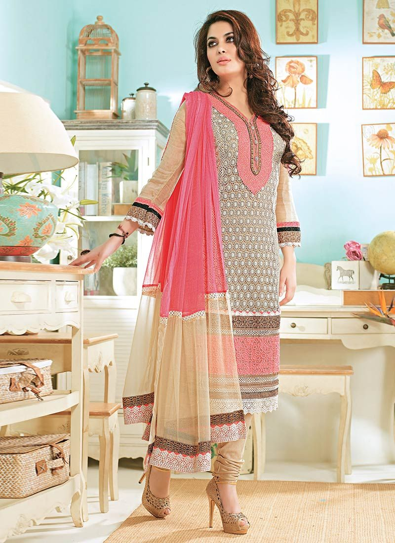 Beige And Pink Embroidered Churidar Suit