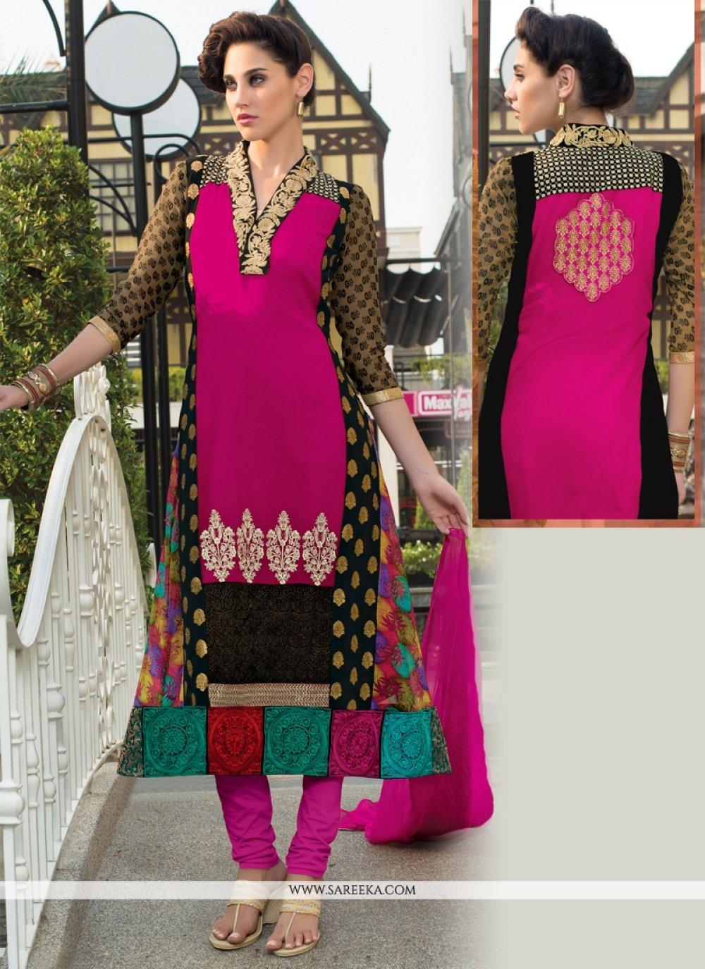 Georgette Resham Work Churidar Salwar Suit
