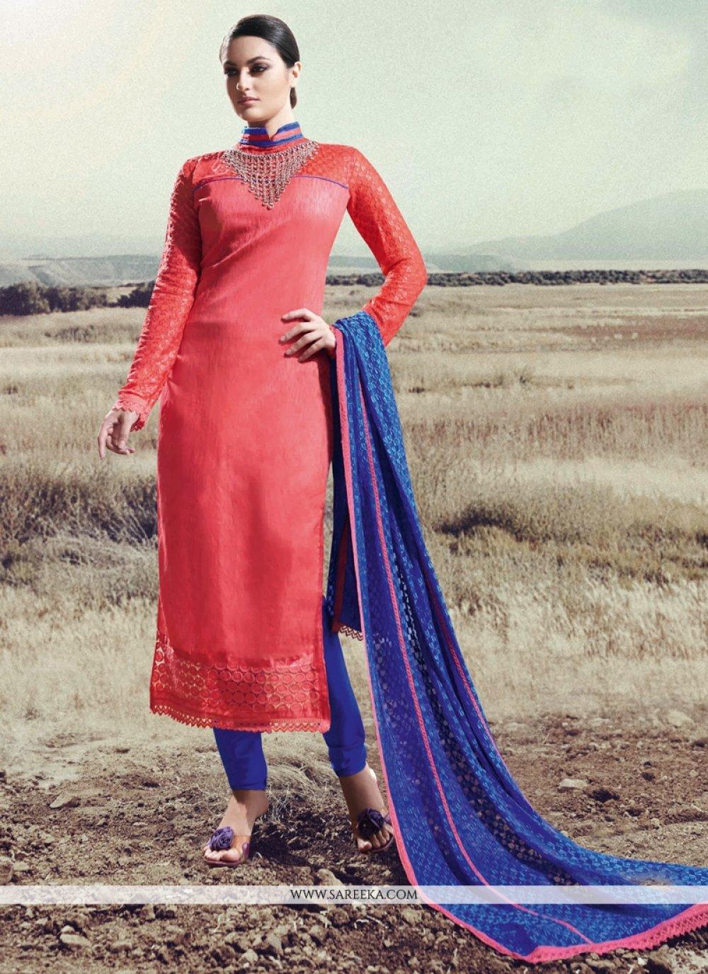 Lace Work Silk Hot Pink Designer Straight Salwar Kameez