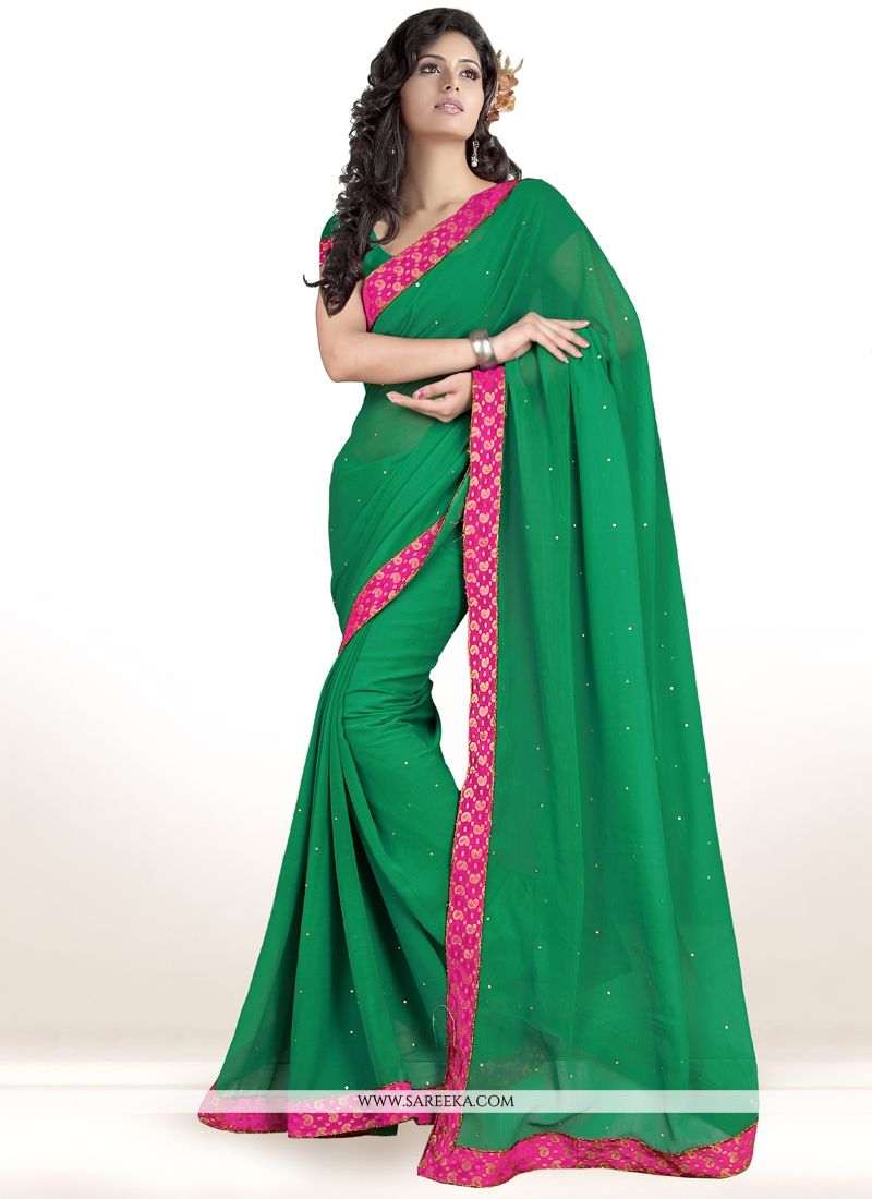 Lace Work Teal Faux Chiffon Casual Saree